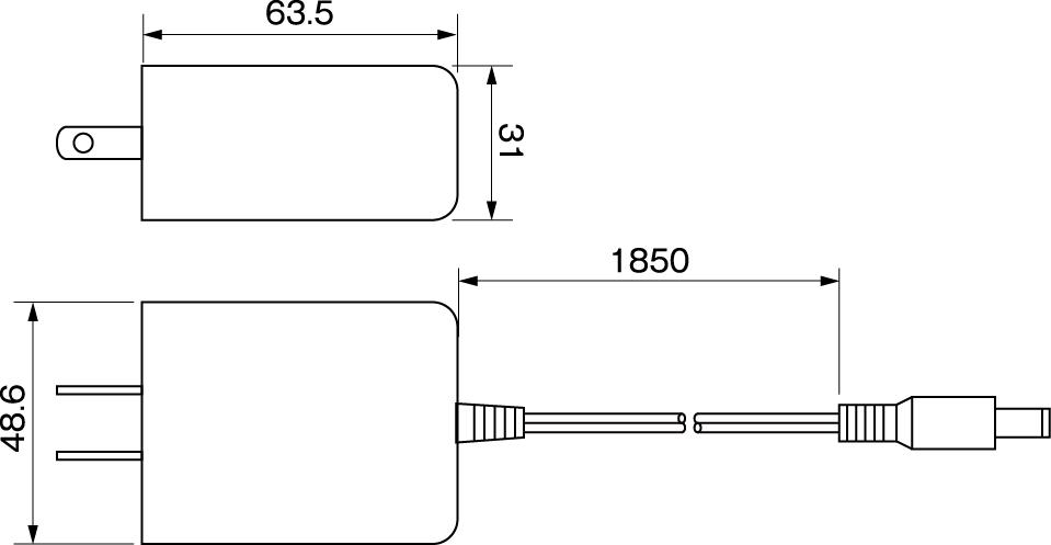 ACアダプター12V1.2A寸法