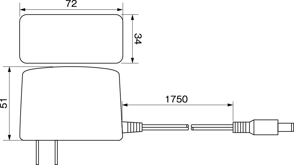 ACアダプター12V2A寸法