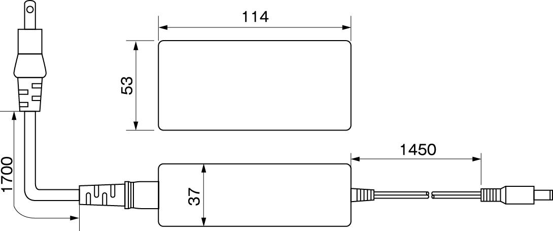 ACアダプター12V5A寸法